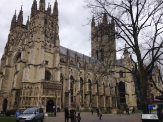 Walking up to Canterbury Cathedral.