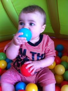 A very young Lily exploring the ball pit.